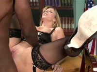 Big Booty Blonde Office Interracial