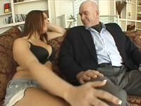 Busty Brunette Fucks Much Older Man