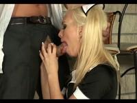 Hot Blond European Maid Fucks