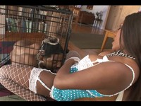 Black Slut Un-Cages Her Big Cock Stud