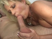 Blonde Milf Facial By a Young Stud